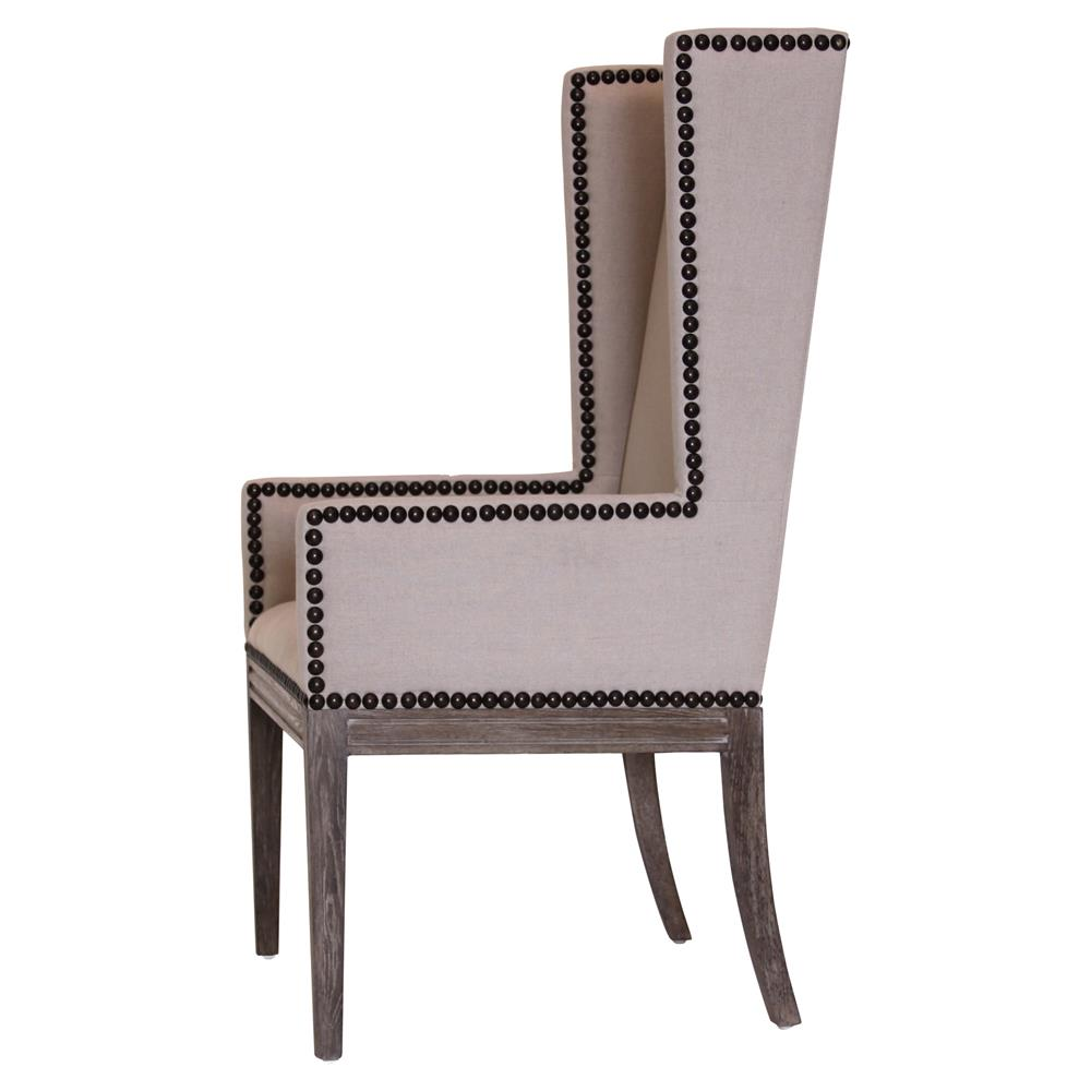 Lionel Modern Taupe Wing Highback Nailhead Dining Room Chair