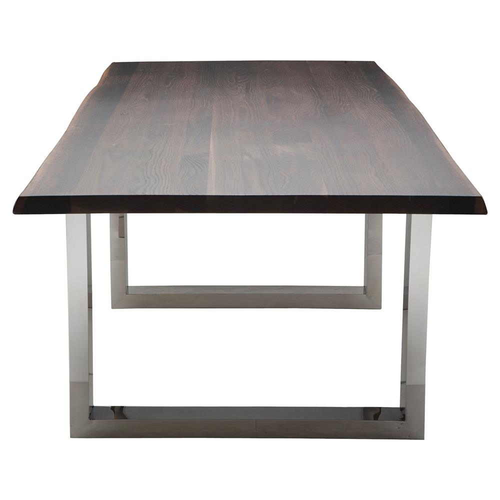 Stainless steel dining table - Zinnia Industrial Brown Oak Stainless Steel Dining Table 78w Kathy Kuo Home