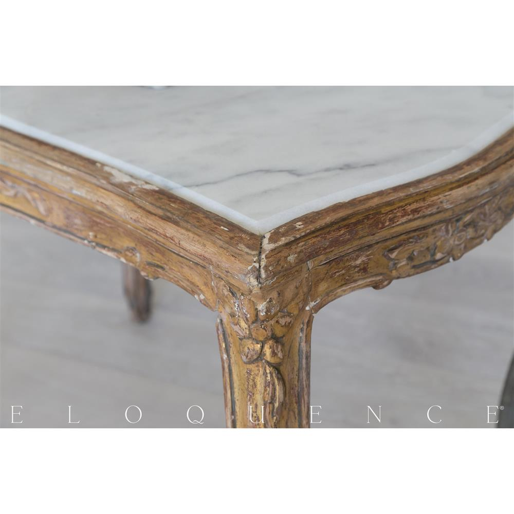 French Gold Coffee Table: Eloquence® French Vintage Gold Marble Coffee Table