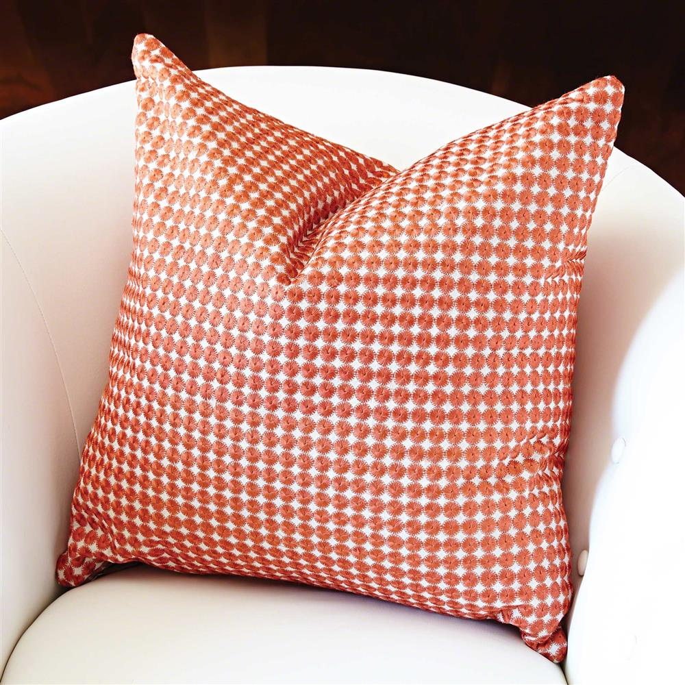 Modern Embroidered Pillow : Modern Small Orange Circle Embroidered Pillow - 20x20 Kathy Kuo Home