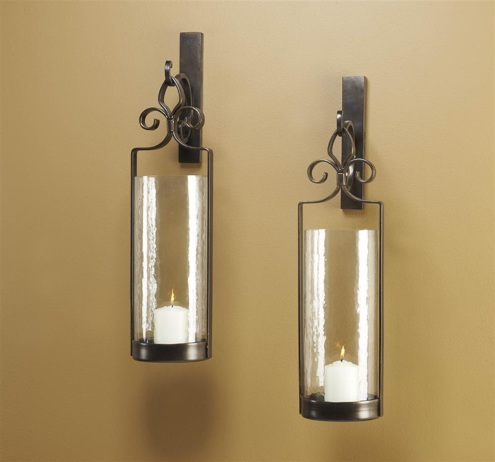 Scroll Wall Sconces Candles : Pair Lisbon Iron Scroll Italian Bronze Wall Sconce Kathy Kuo Home