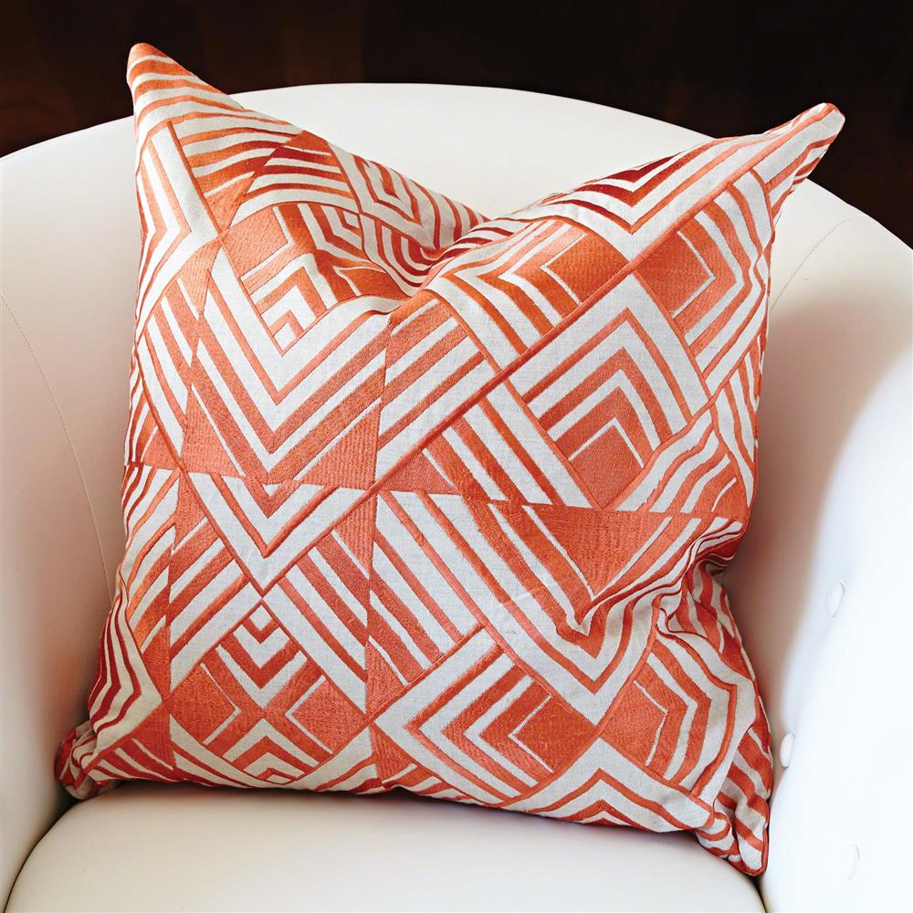 Modern Orange Geometric Chevron Embroidered Pillow - 20x20 Kathy Kuo Home