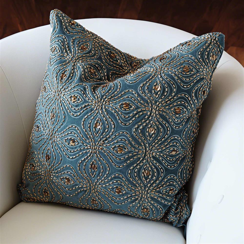 Azura Global Bazaar Blue Gold Beaded Pillow 20x20