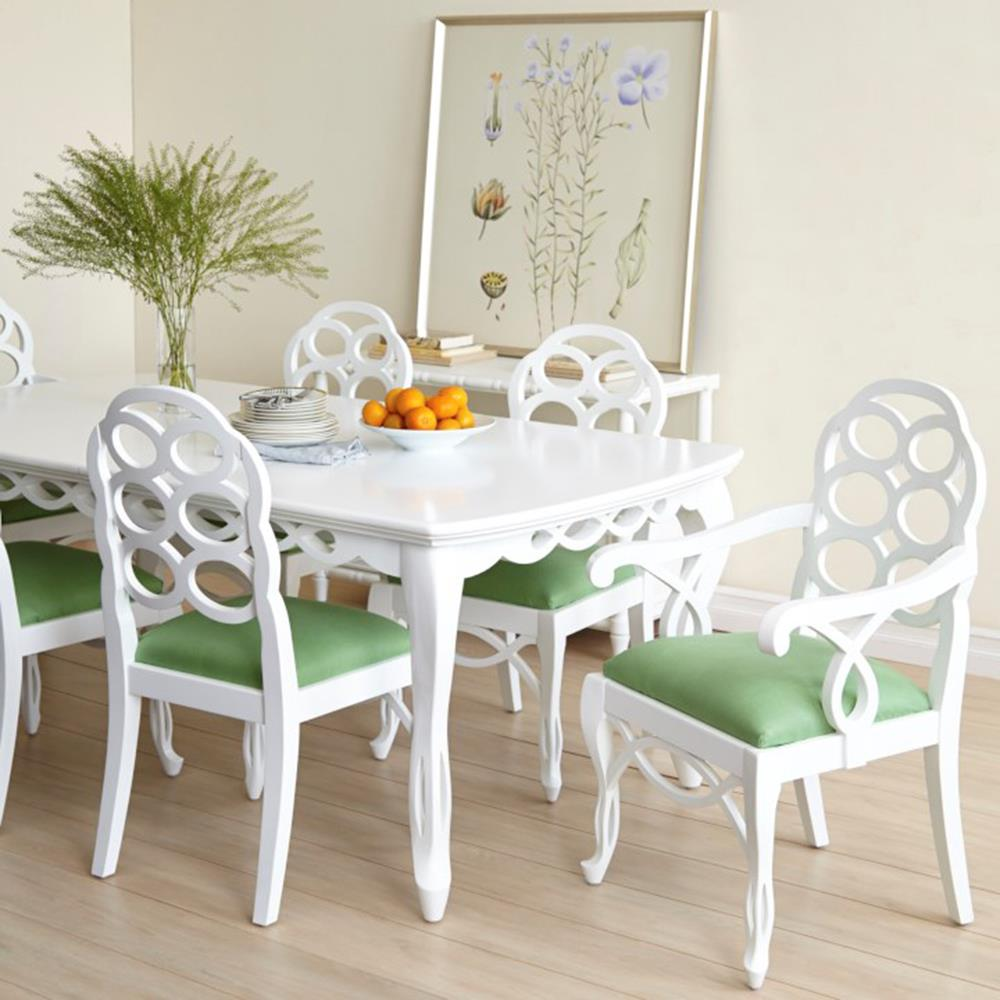 Floria modern classic white lacquer loop dining table for White lacquer dining table