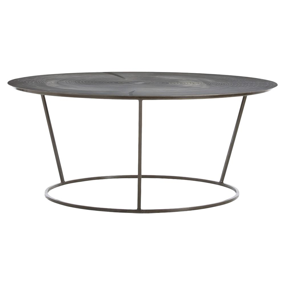 Arbor Industrial Tree Etched Round Iron Coffee Table Kathy Kuo Home