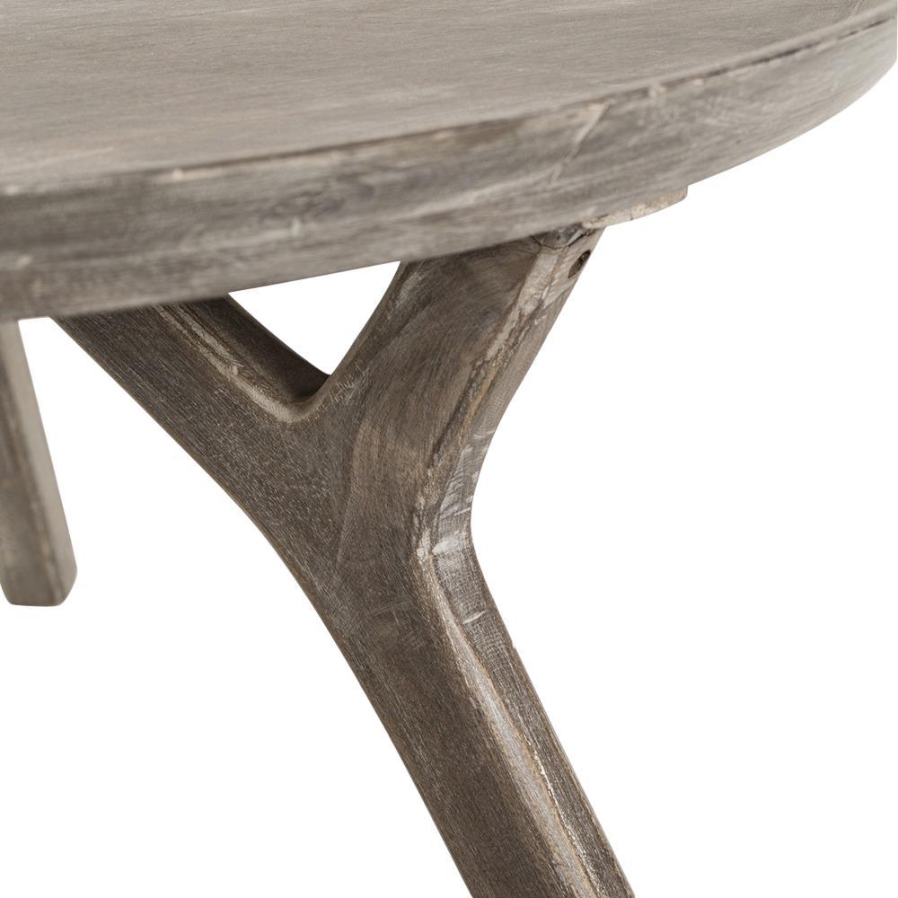 Rayvon Rustic Grey Wood Round Tray Coffee Table