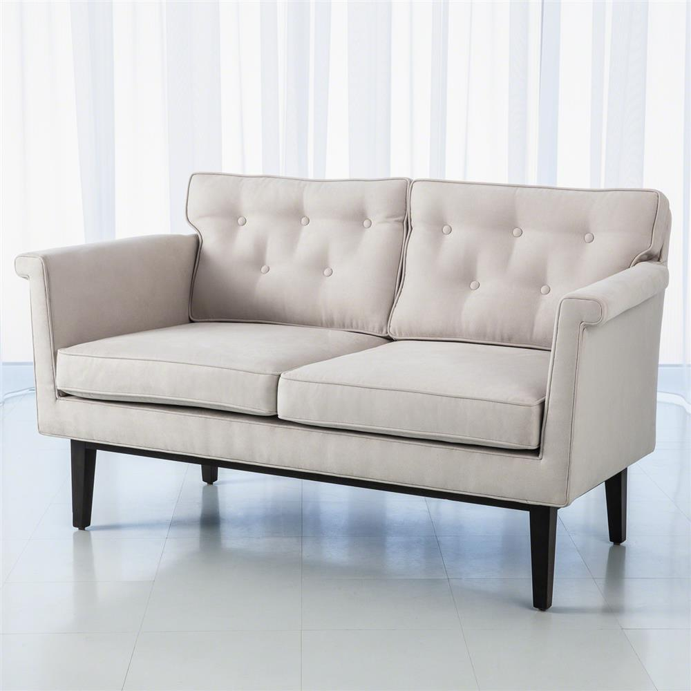 Ruth Modern Classic Ivory Faux Suede Loveseat Kathy Kuo Home