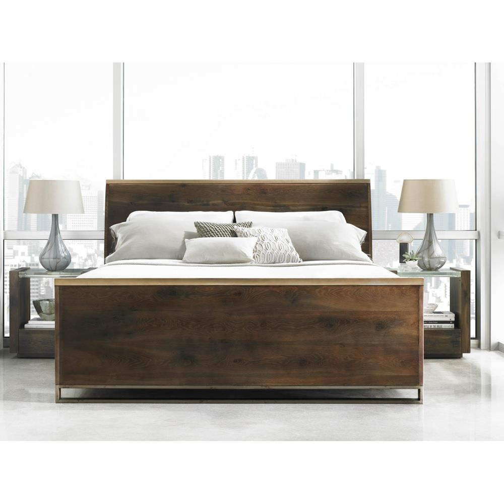Design Modern Sleigh Bed patrick rustic wood modern brass sleigh bed queen kathy kuo home