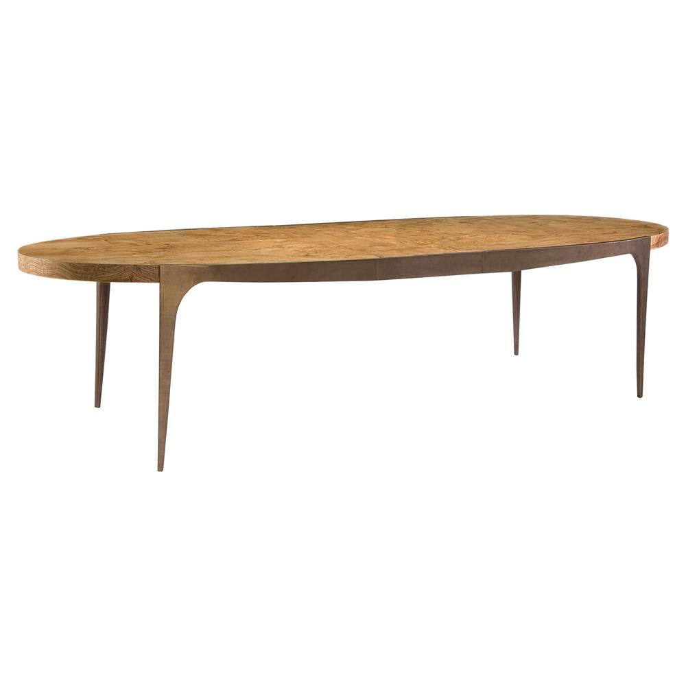 Dining Tables Zita Modern Oval Burl Veneer Bronze Dining Table