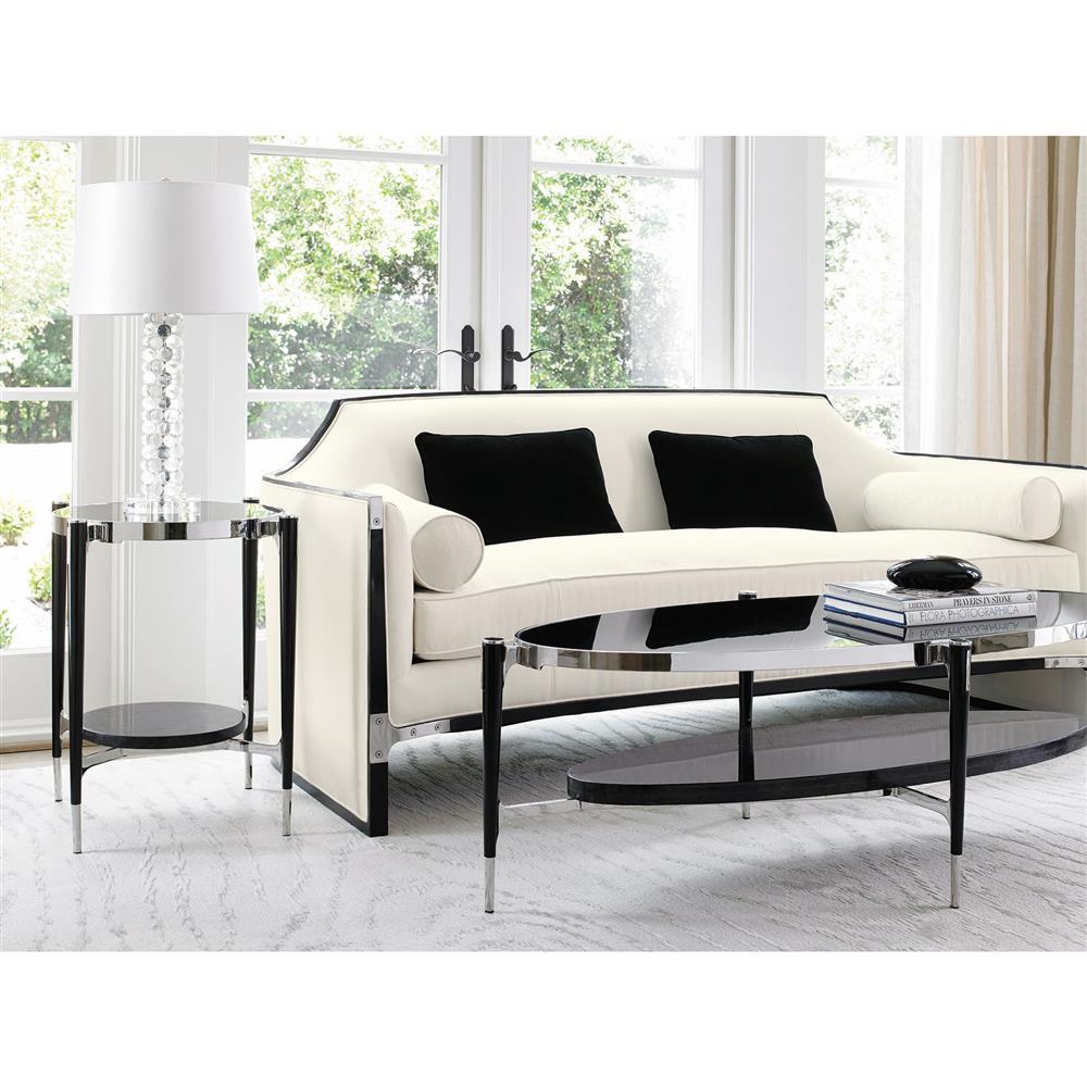 Slipcover Tuxedo Sofa: Octavio Modern Black Tuxedo Trim Ivory Sofa