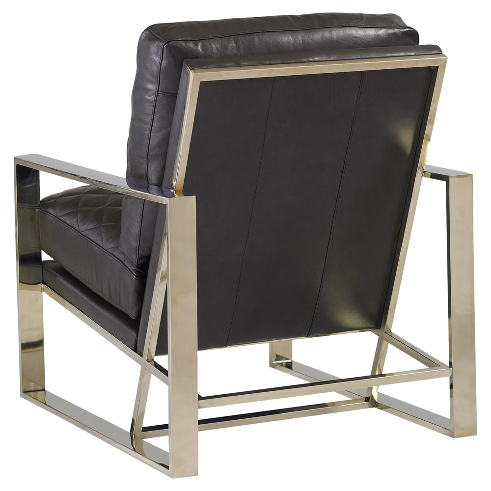 ignatius mid century grey quilted leather metal chair  kathy kuo home -