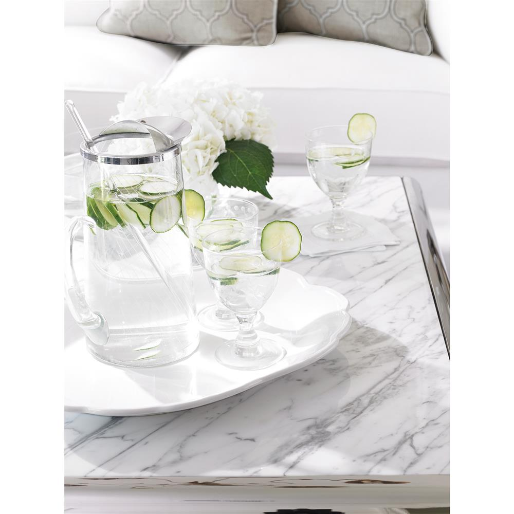 Auretta Polished Silver White Marble Square Coffee Table