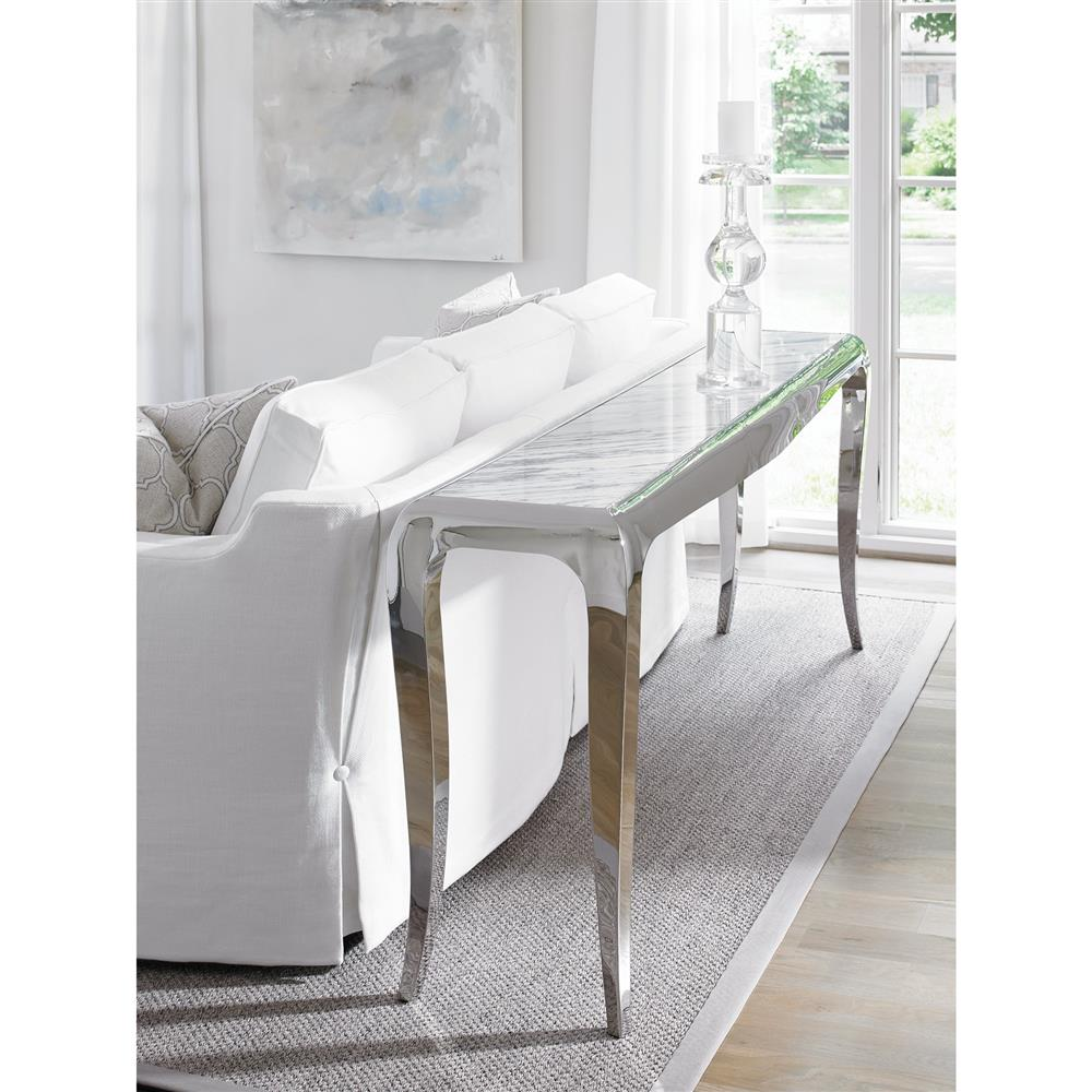 Auretta Polished Silver White Marble Console Table | Kathy Kuo Home · View  Full Size ...