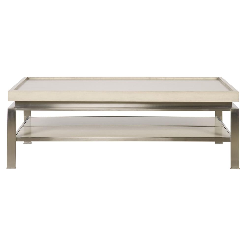 Dage Modern Grey Tray Stainless Steel Coffee Table Kathy Kuo Home