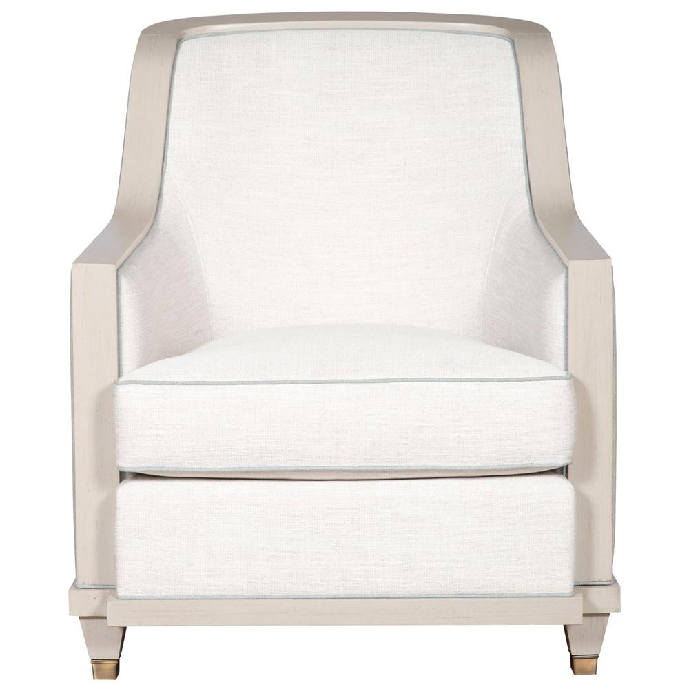 Thom Filicia Burlingame Coastal Ivory Round Blue Trim Armchair
