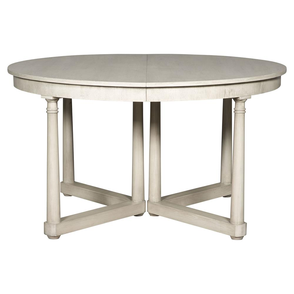declan rustic white extendable round dining table kathy kuo home. Black Bedroom Furniture Sets. Home Design Ideas