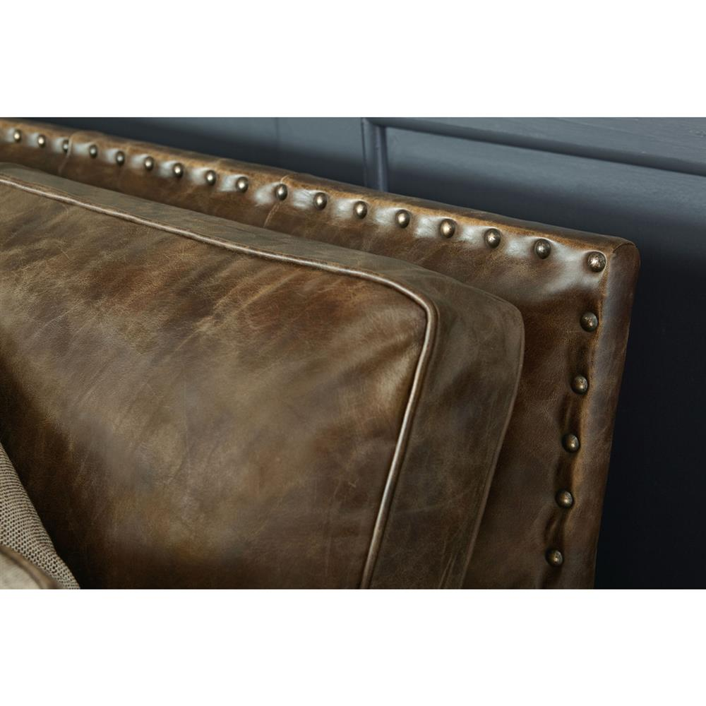 manzo rustic lodge brown leather nailhead sofa kathy kuo home