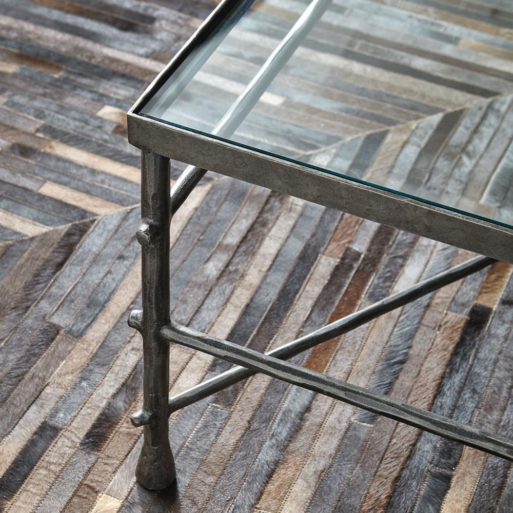 Rand Industrial Loft Pewter Grey Glass Coffee Table Kathy Kuo Home - Pewter glass coffee table