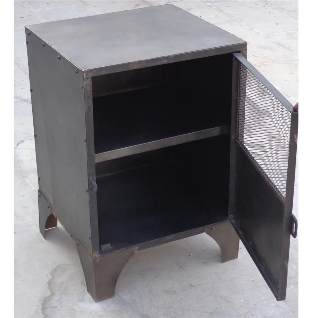 Vintage Industrial Steel Shoe Locker End Table Kathy Kuo