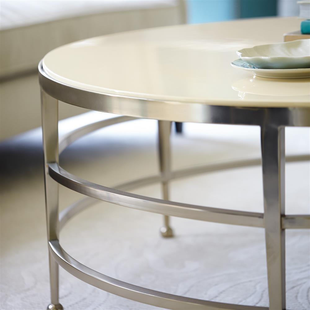 Stark Modern Classic Round Cream Nickel Coffee Table Kathy Kuo Home