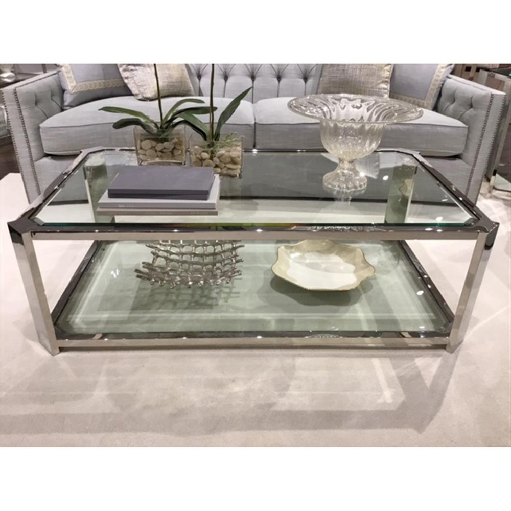 ryne modern classic polished silver glass coffee table kathy kuo home. Black Bedroom Furniture Sets. Home Design Ideas