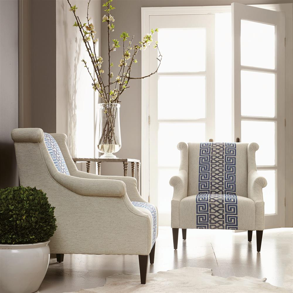 Callixto Modern Blue Greek Grey Beige Armchair Kathy Kuo