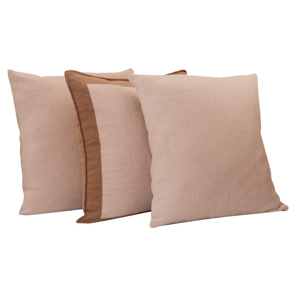 Stephie Classic Beige Bordered Camel Hair Pillow 22x22