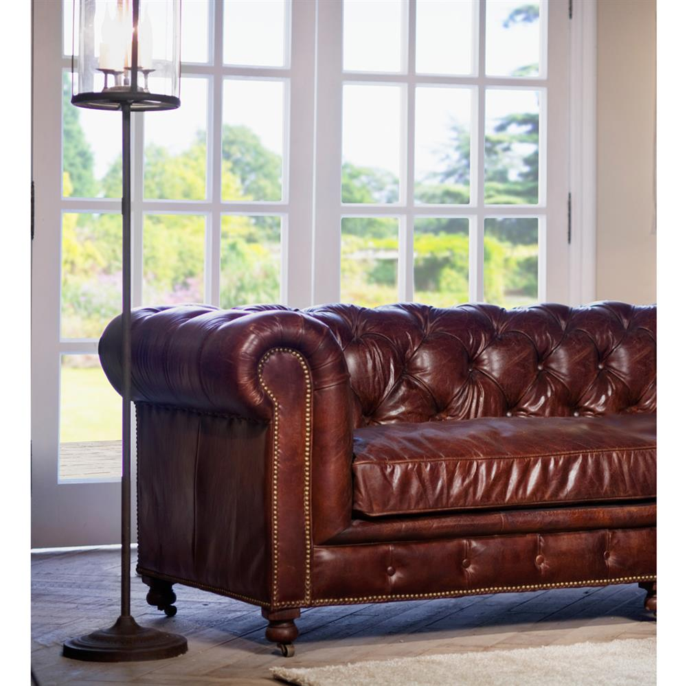 Club Chesterfield Tufted Brown Leather Sofa 118w Kathy