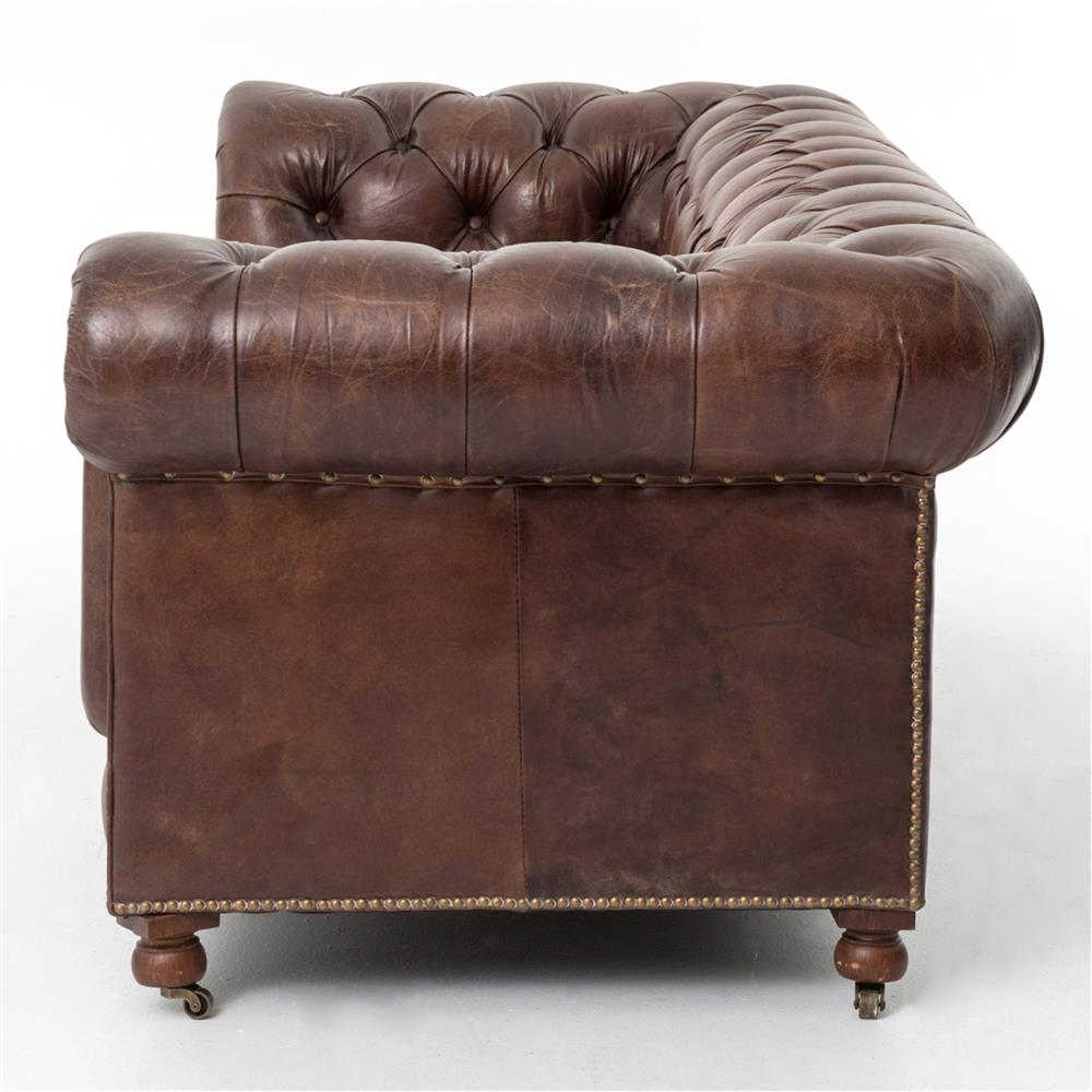 club chesterfield tufted brown leather sofa 96w kathy kuo home. Black Bedroom Furniture Sets. Home Design Ideas
