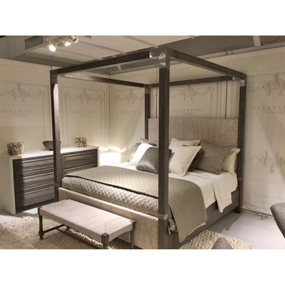Clarcia Coastal Rustic Grey Abaca Nickel Canopy Bed - King | Kathy ...