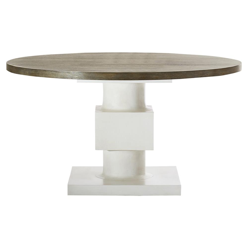 Leonara Coastal White Pedestal Rustic Round Wood Dining Table Kathy Kuo Home View Full Size