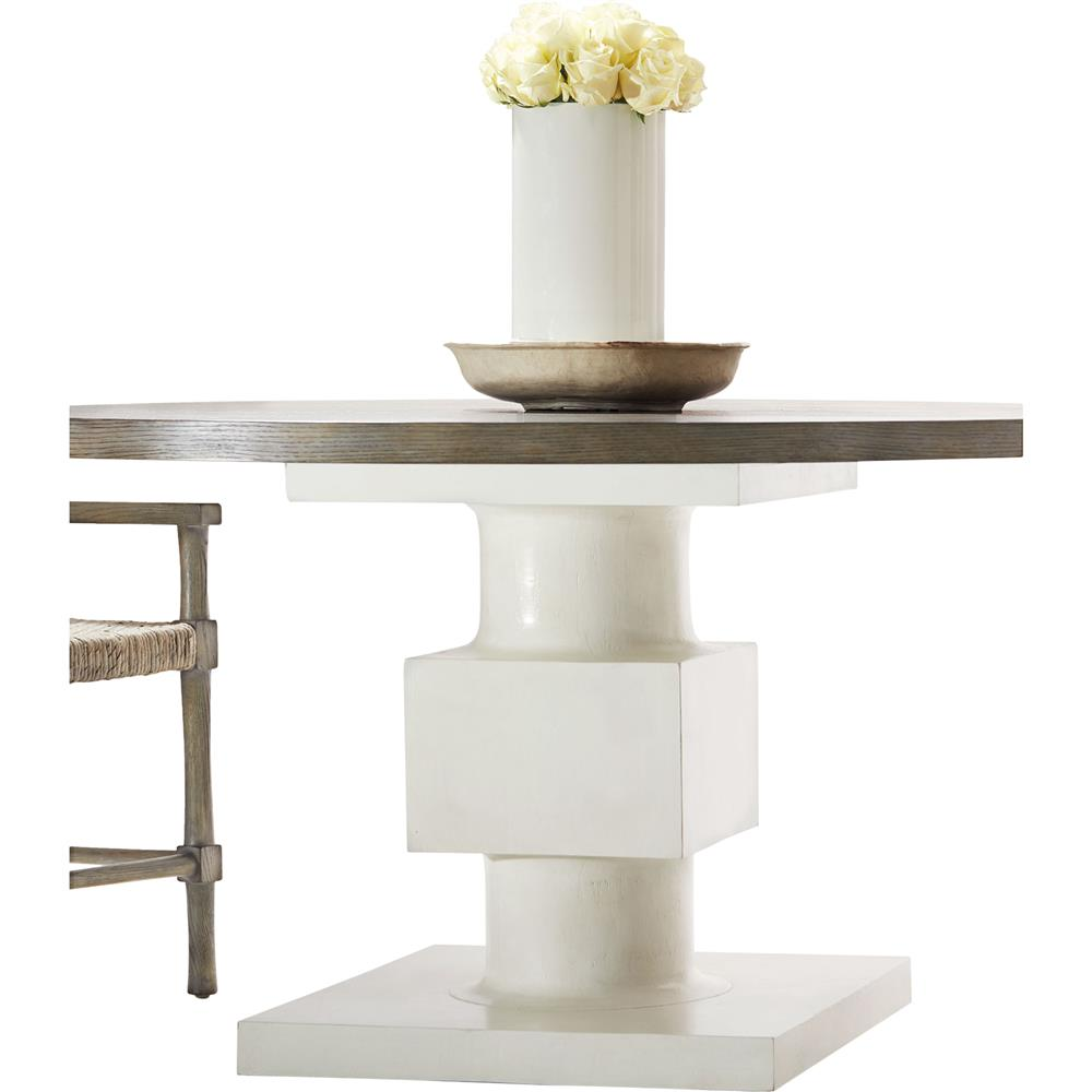 Leonara Coastal White Pedestal Rustic Round Wood Dining