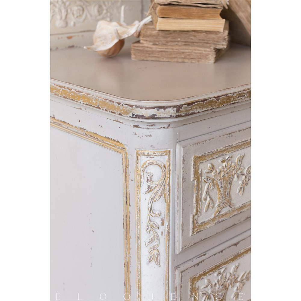 Eloquence Bronte Commode in Fleur De Lis Gold Leaf | Kathy Kuo Home