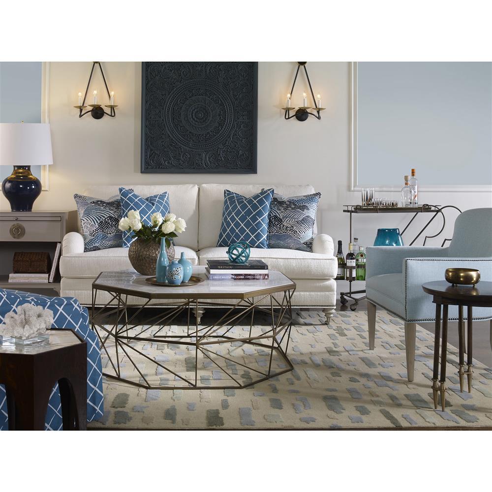 Olivia Marble Top Coffee Table: Vanguard Olivia Regency Brass Geometry White Marble Coffee