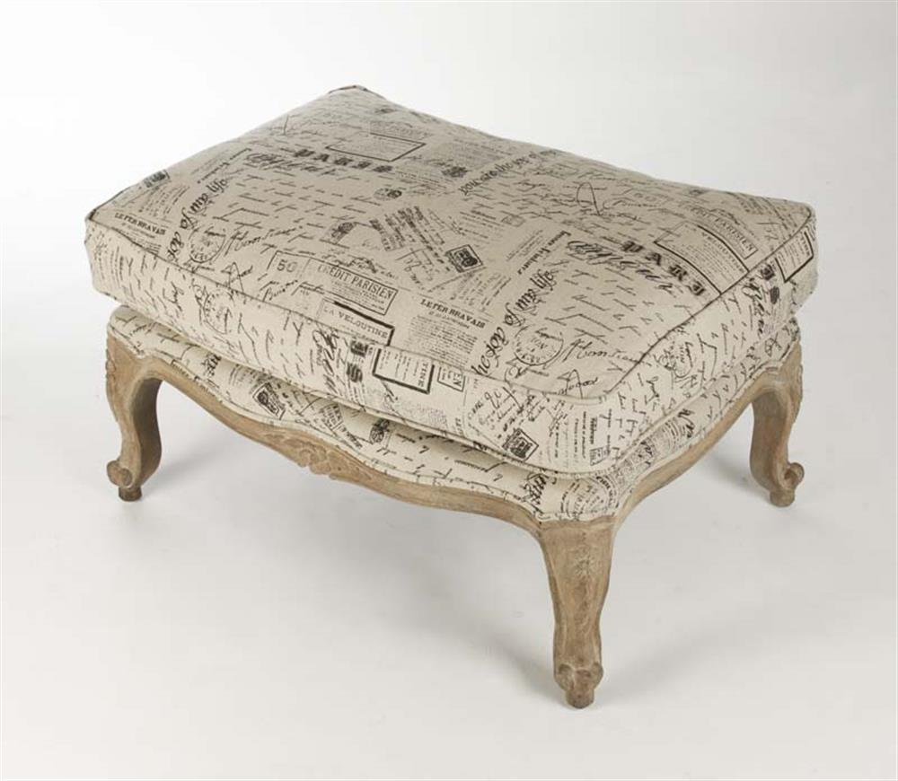 French Country Script Chairs ~ French country literary script linen club chair ottoman