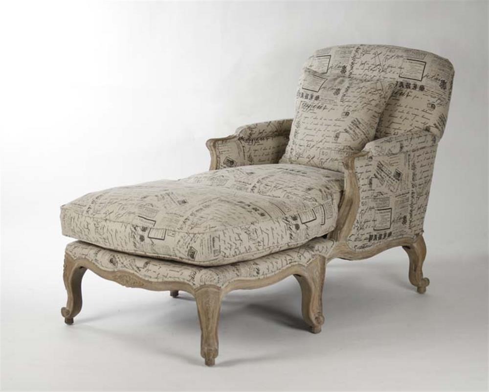 French Country Literary Script Linen Club Chair Ottoman