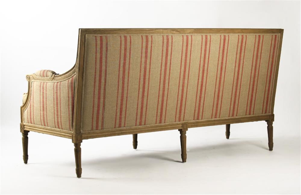 St. Germain French Style Red Stripe Linen Louis XVI Sofa | Kathy Kuo ...