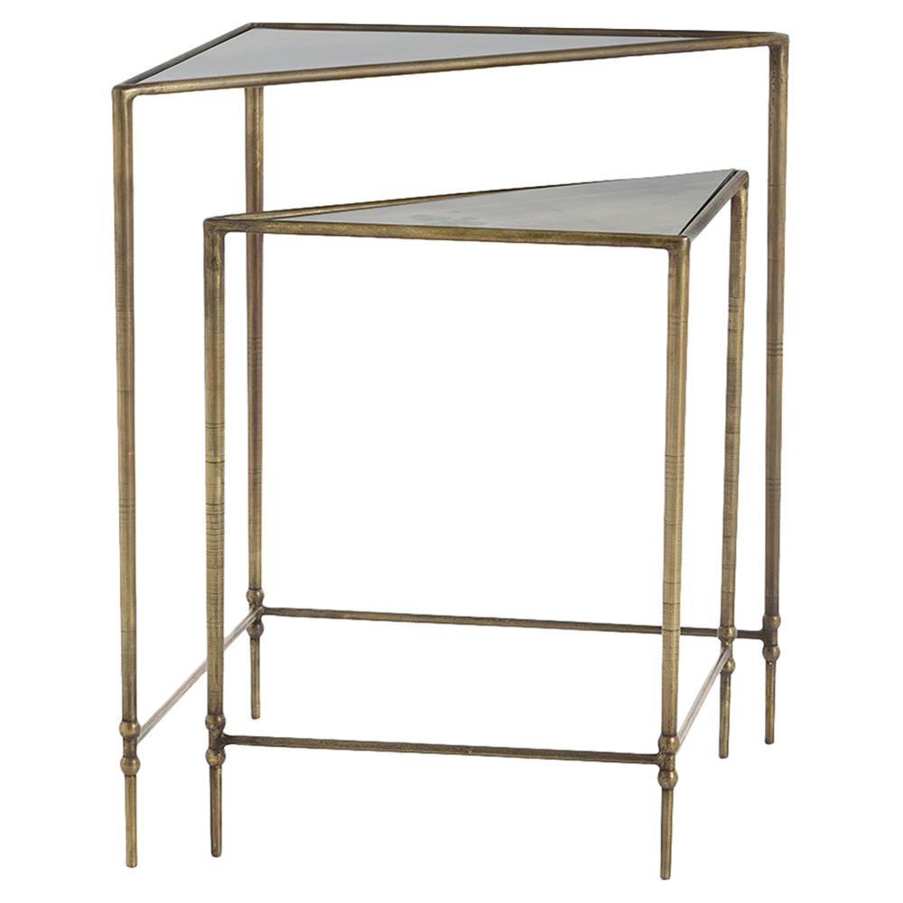 Abree Minimal Antique Brass Triangle Nesting Tables Pair