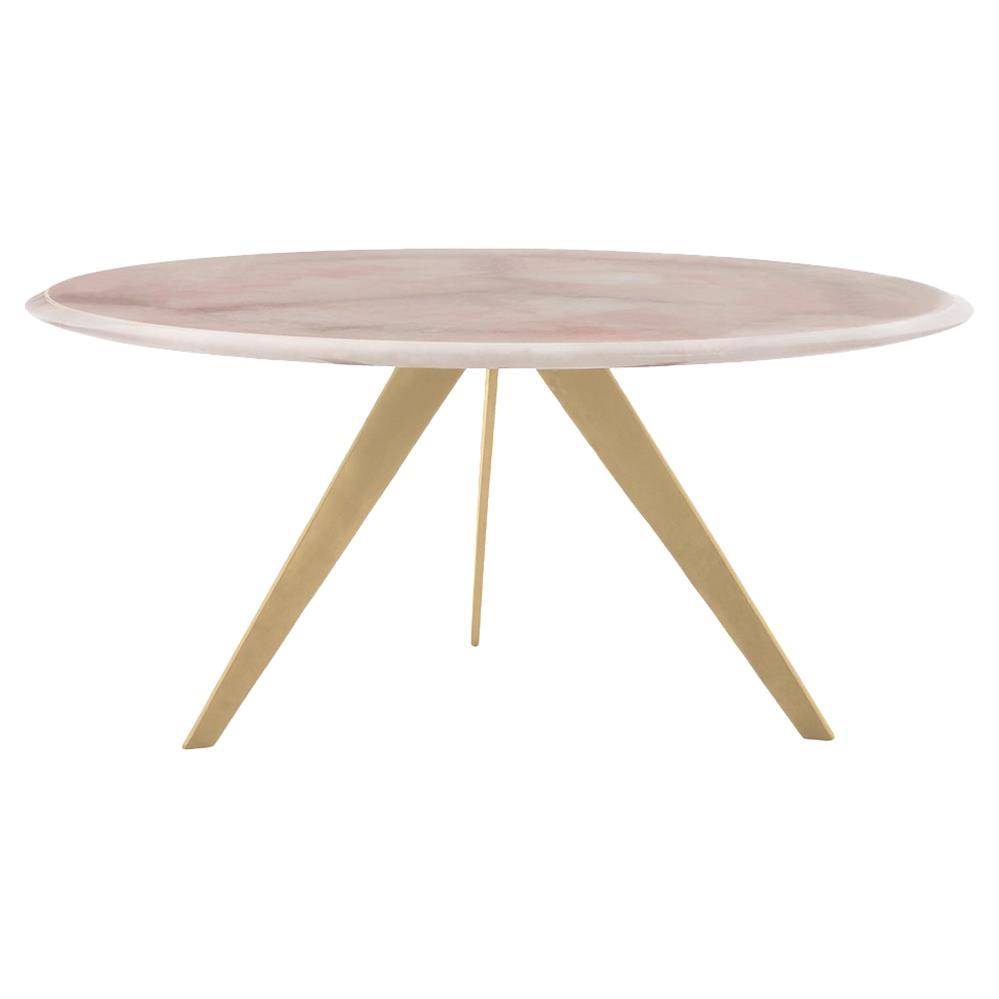 arteriors essex modern rose quartz gold leaf coffee table kathy kuo home. Black Bedroom Furniture Sets. Home Design Ideas