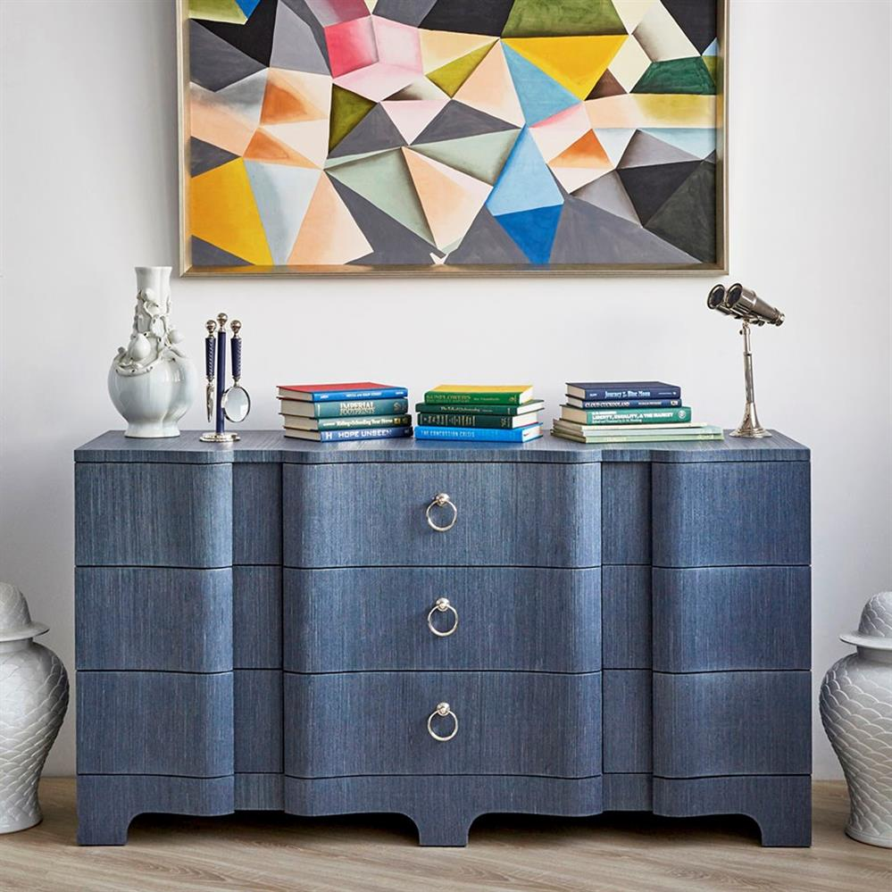 Merkel Lacquer Grcloth Navy Blue Dresser 9 Drawer Kathy Kuo Home