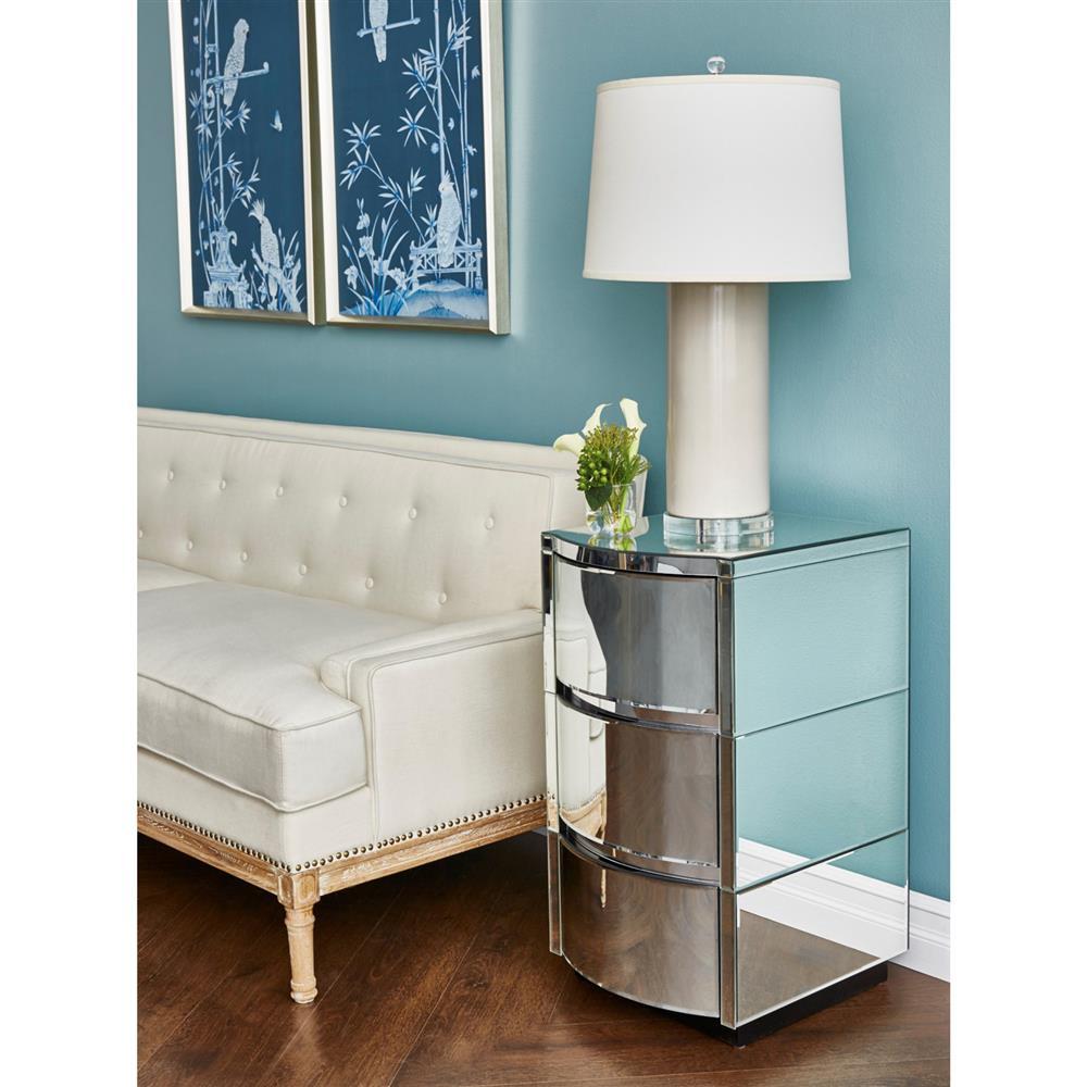 Mervin modern curved art deco mirrored nightstand kathy for Mirror nightstand
