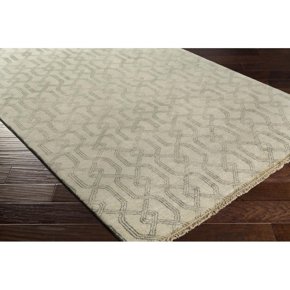 Theon Coastal Charcoal Grey Beige Trellis Wool Rug 4x6