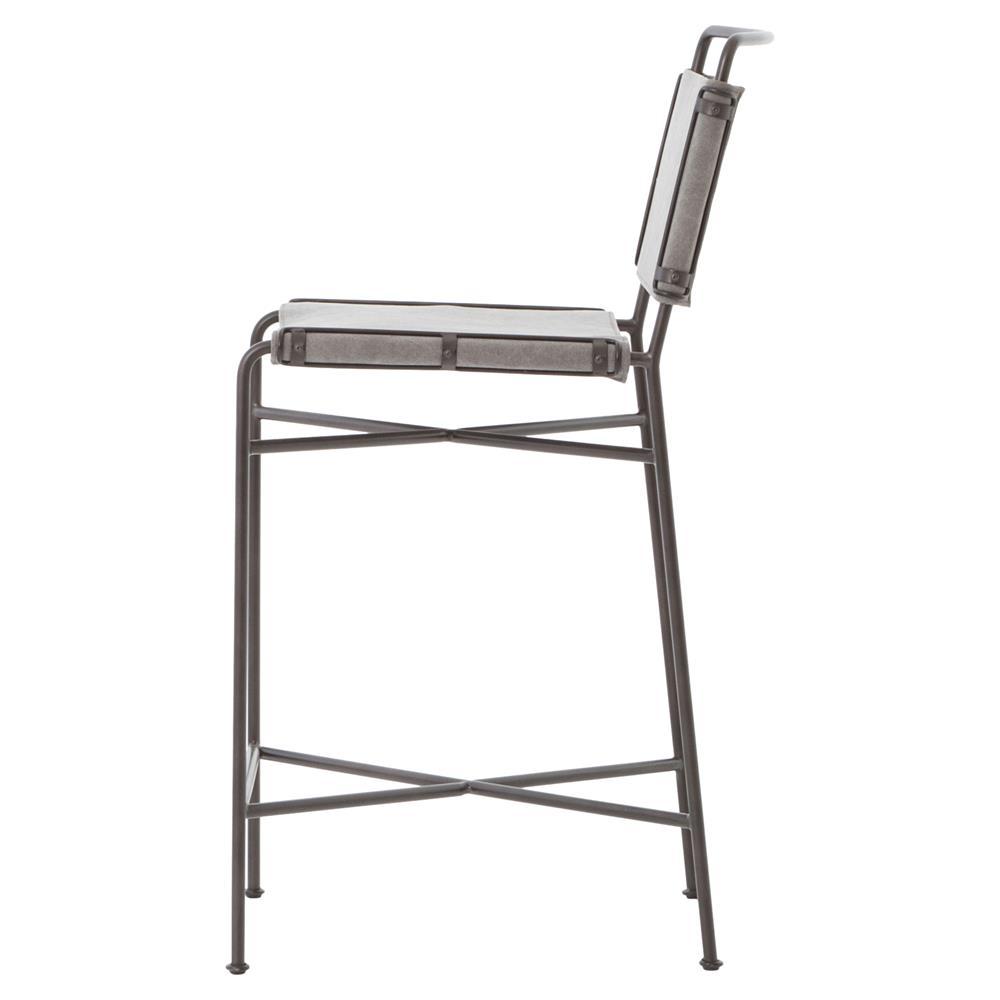 Oxton Industrial Loft Grey Steel Canvas Counter Stool