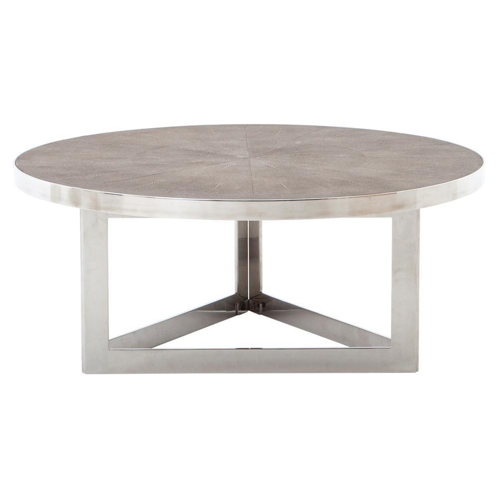 larana regency faux shagreen round steel coffee table