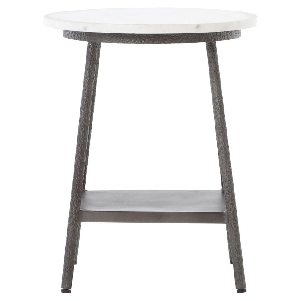 Amaris Loft White Marble Hammered Grey Side Table