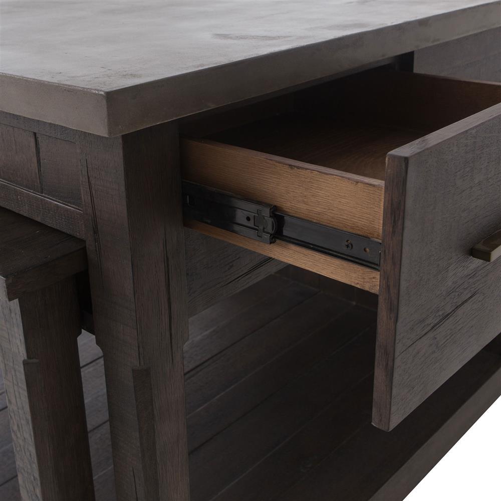 koreen modern 5 drawer grey stone top extendable kitchen