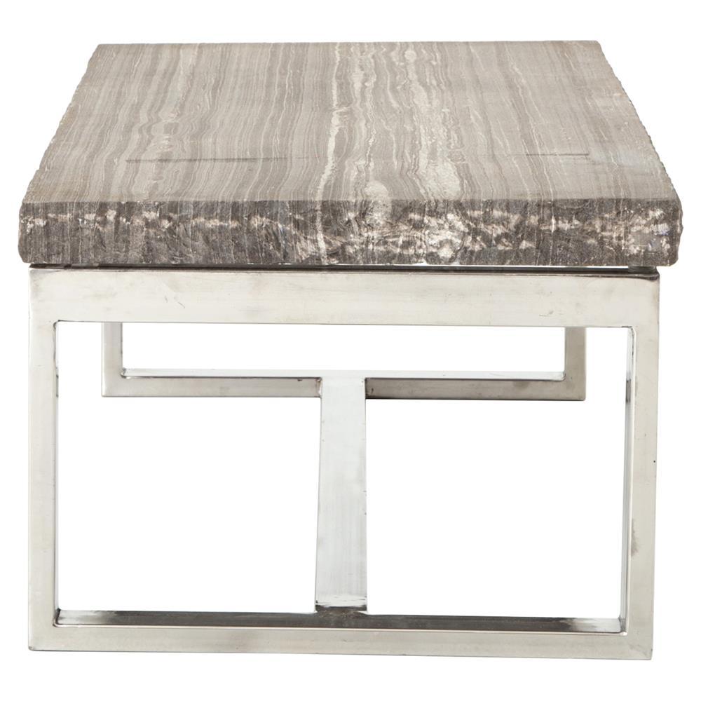 Oracle Grey Marble Coffee Table: Fitzroy Loft Sandblast Chisel Grey Marble Steel Coffee Table
