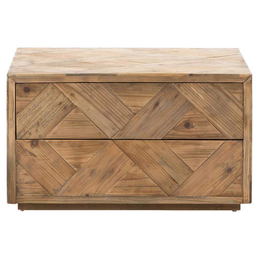 Derona Lodge Pine Parquet Hidden Drawer Coffee Table