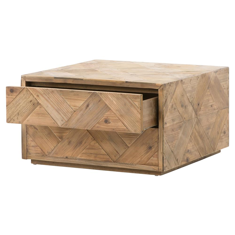 Derona lodge pine parquet hidden drawer coffee table kathy kuo home Pine coffee table with drawers