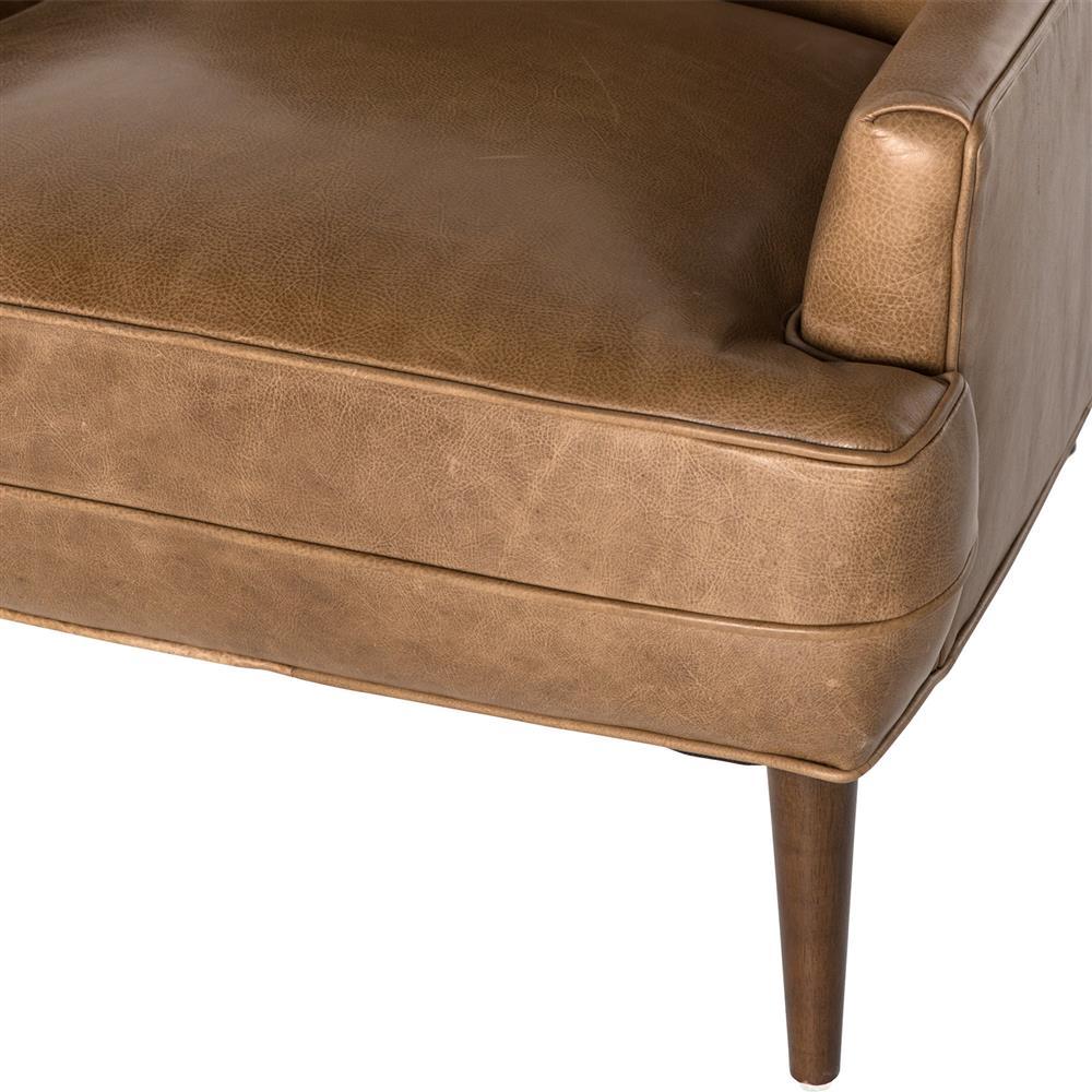 Vanda Retro Mid Century Camel Brown Leather Armchair